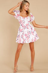 4 Spring In Your Step White Floral Print Dress at reddress.com