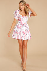 3 Spring In Your Step White Floral Print Dress at reddress.com