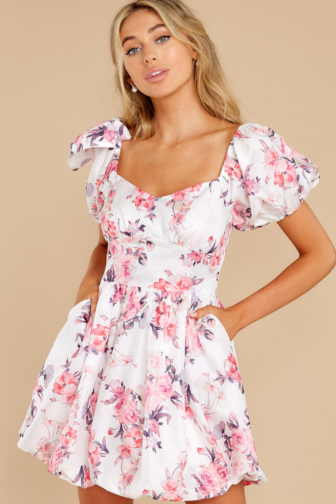 1 Be A Wildflower White Floral Print Dress at reddress.com