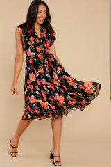 6 Intended Or Not Black Floral Print Midi Dress at reddress.com