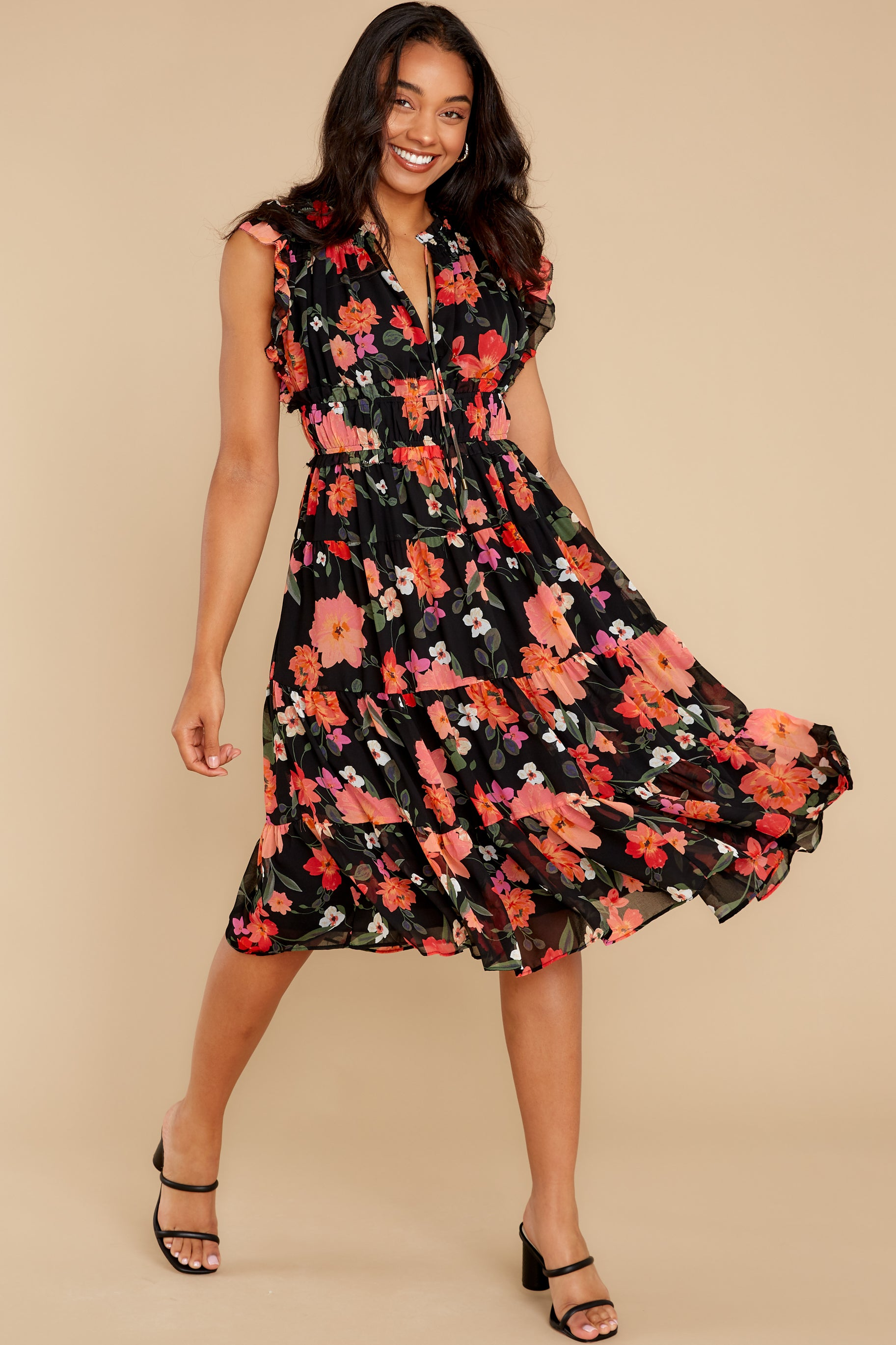4 Intended Or Not Black Floral Print Midi Dress at reddress.com