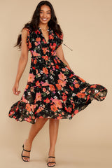 1 Intended Or Not Black Floral Print Midi Dress at reddress.com