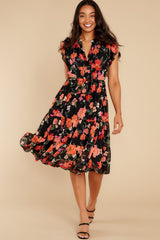 3 Intended Or Not Black Floral Print Midi Dress at reddress.com
