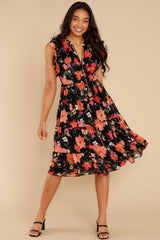 5 Intended Or Not Black Floral Print Midi Dress at reddress.com