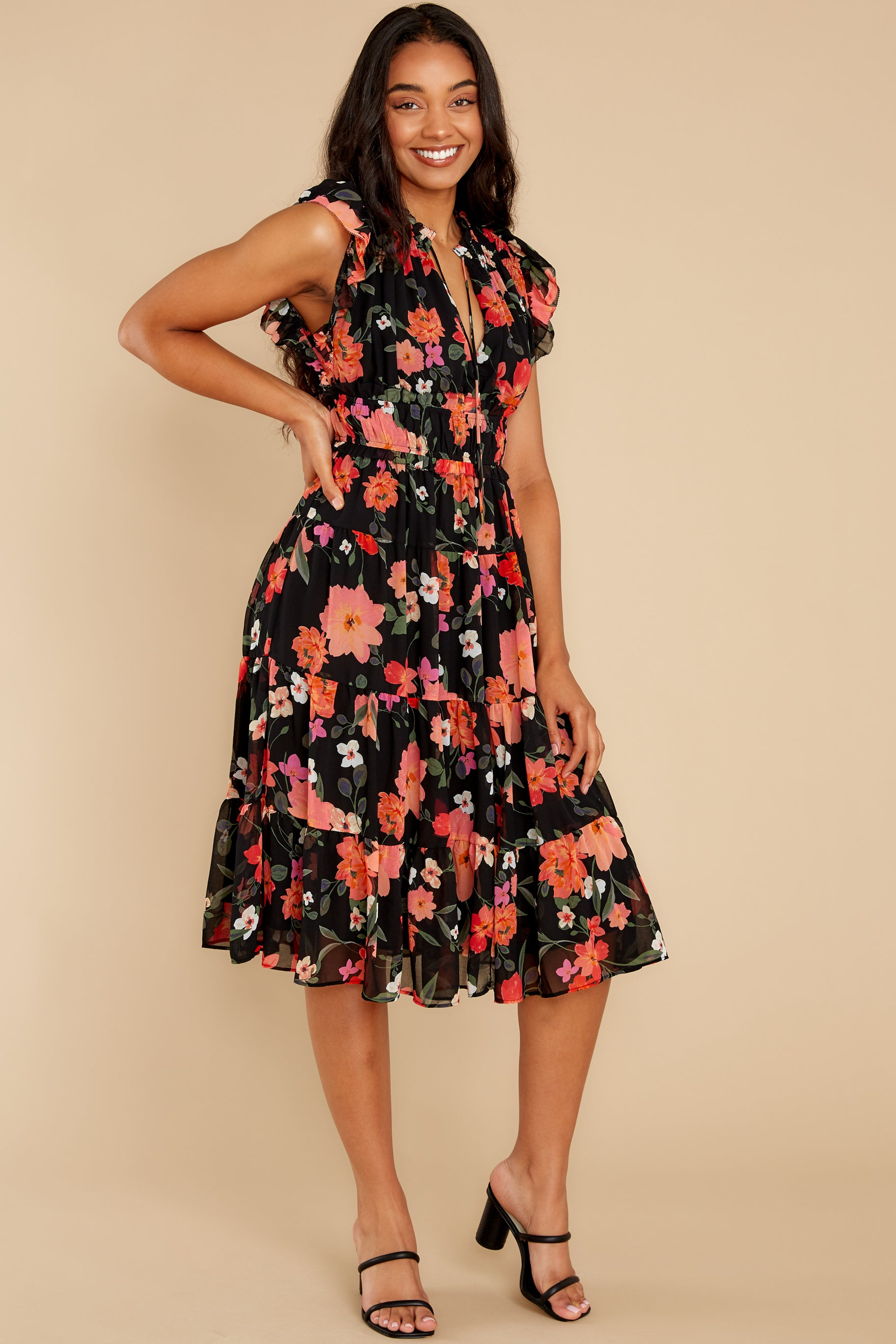 2 Intended Or Not Black Floral Print Midi Dress at reddress.com