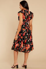 7 Intended Or Not Black Floral Print Midi Dress at reddress.com