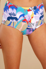 1 No Road Map Purple Multi Print Bikini Bottoms at reddress.com
