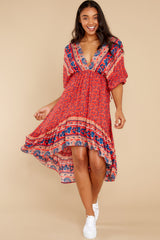 3 Out Of Envy Red Multi Print Midi Dress at reddress.com