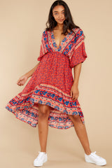 2 Out Of Envy Red Multi Print Midi Dress at reddress.com