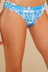 1 Casual Connection Blue Print Bikini Bottoms at reddress.com