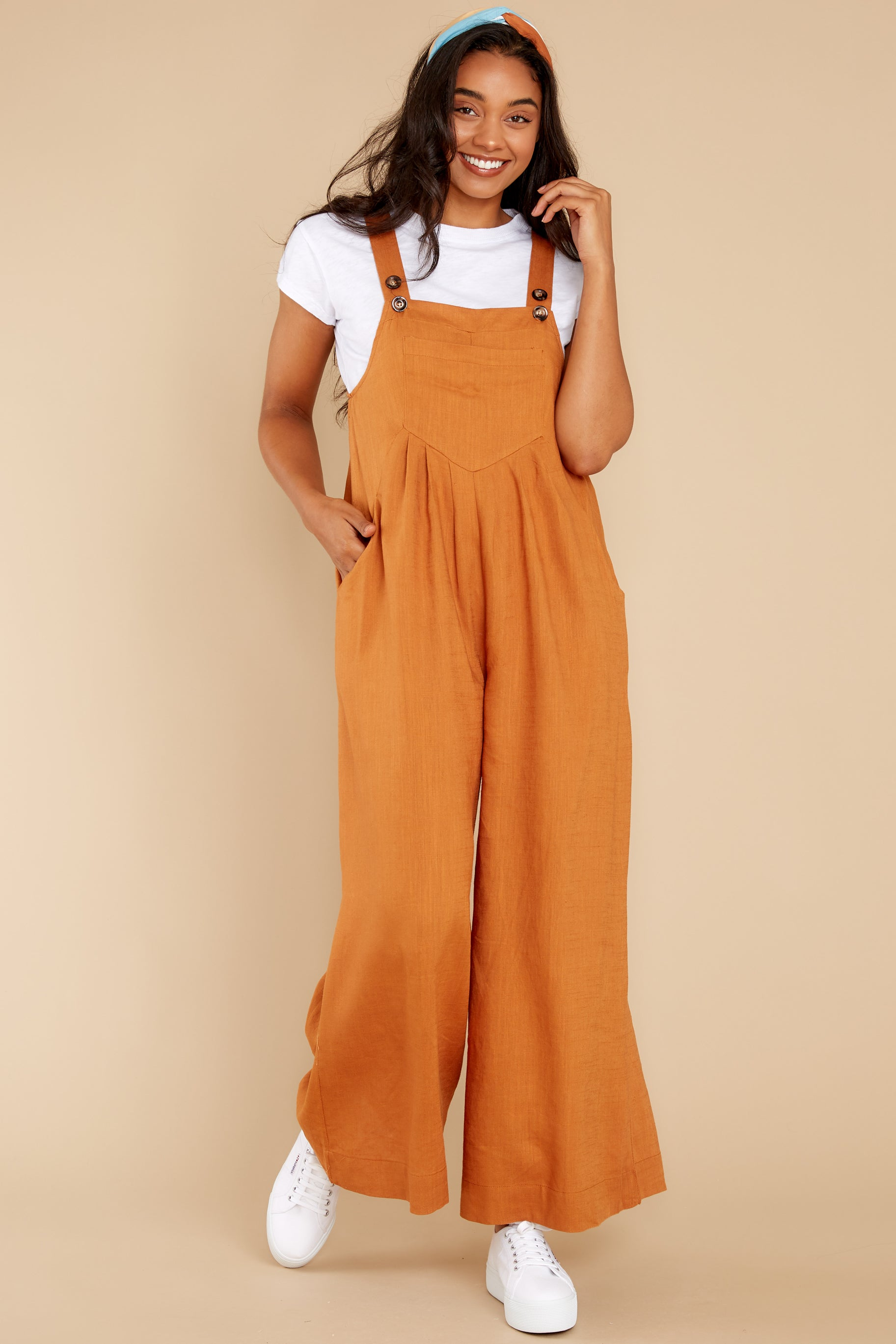 Cottagecore Clothing, Soft Aesthetic In It To Win It Butterscotch Jumpsuit Brown $50.00 AT vintagedancer.com