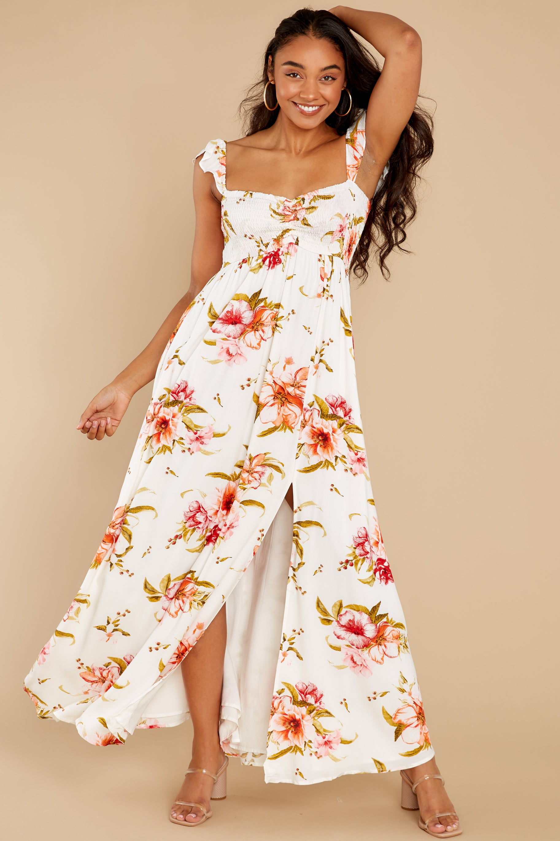 1 Know What I Want White Floral Print Maxi Dress at reddress.com