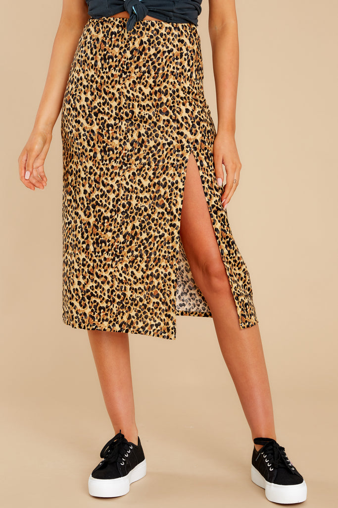 1 Act Wildly Leopard Print Midi Skirt at reddress.com