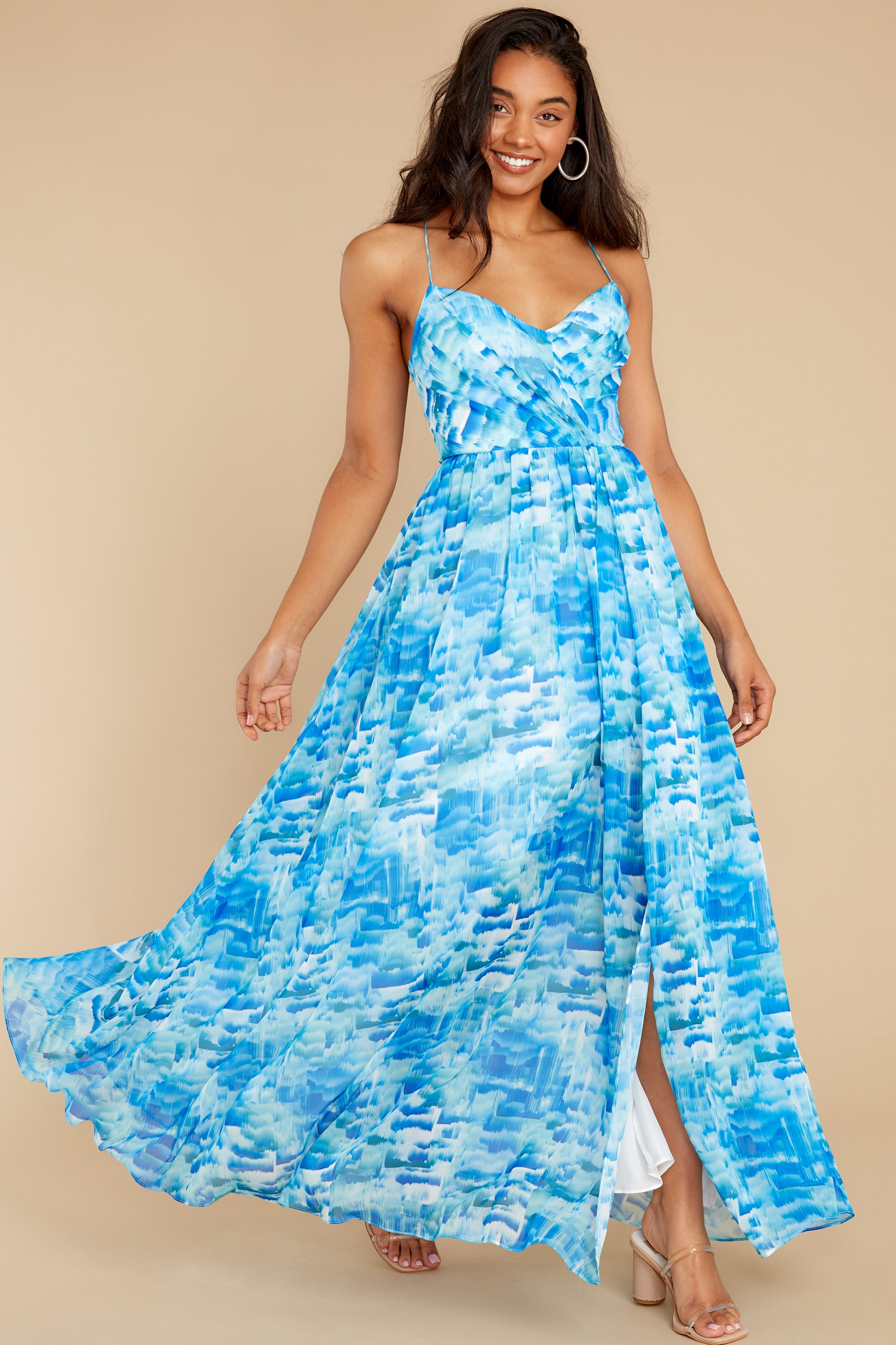 5 Not to Mention Blue Multi Maxi Dress at reddress.com
