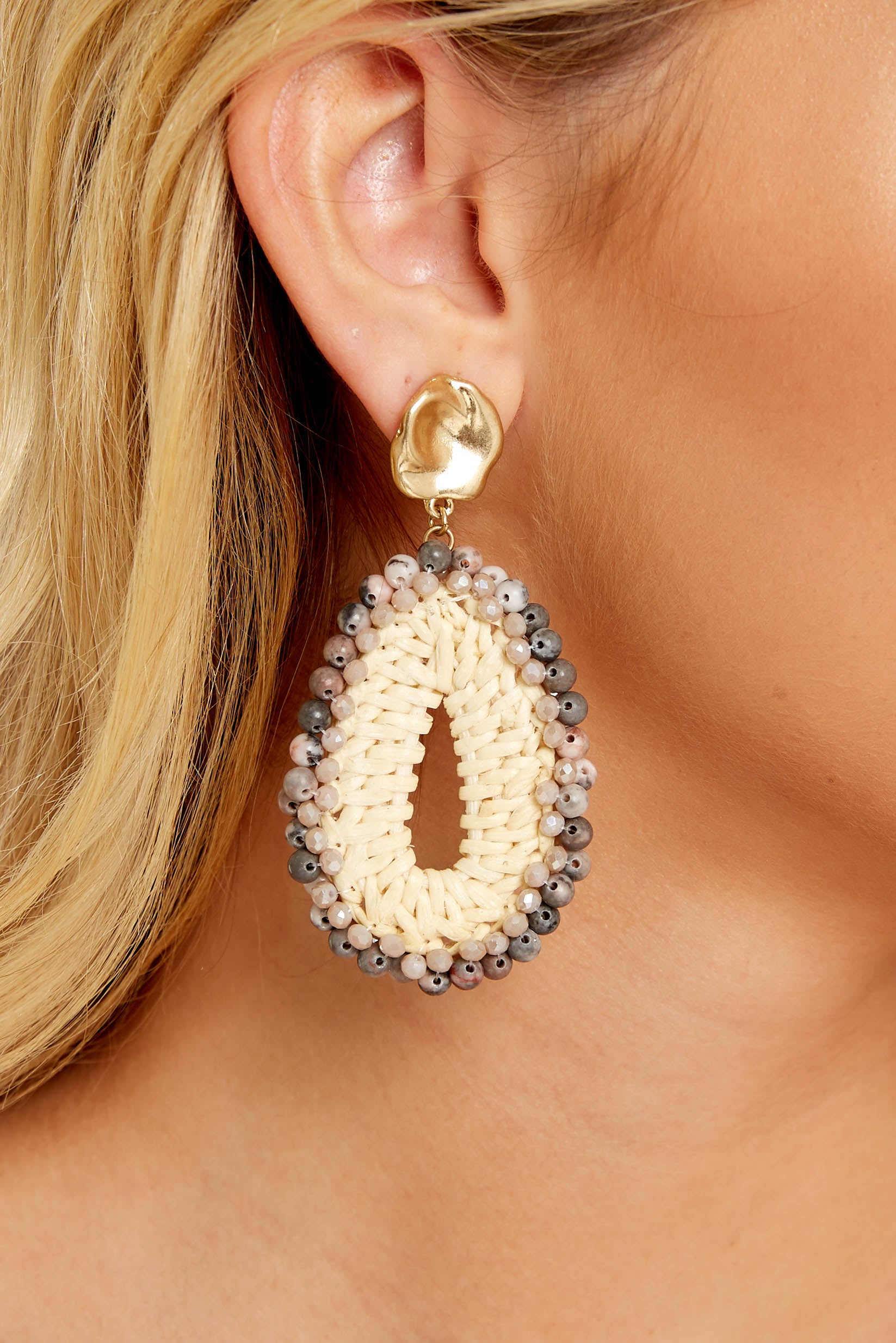 1 Weave Through Woven Pink Natural Earrings at reddressboutique.com