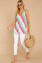 2 Always Ready Pastel Rainbow Stripe Tank at reddressboutique.com