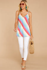 3 Always Ready Pastel Rainbow Stripe Tank at reddressboutique.com