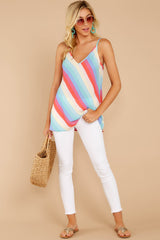 4 Always Ready Pastel Rainbow Stripe Tank at reddressboutique.com