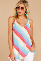 5 Always Ready Pastel Rainbow Stripe Tank at reddressboutique.com