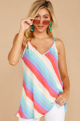 1 Always Ready Pastel Rainbow Stripe Tank at reddressboutique.com