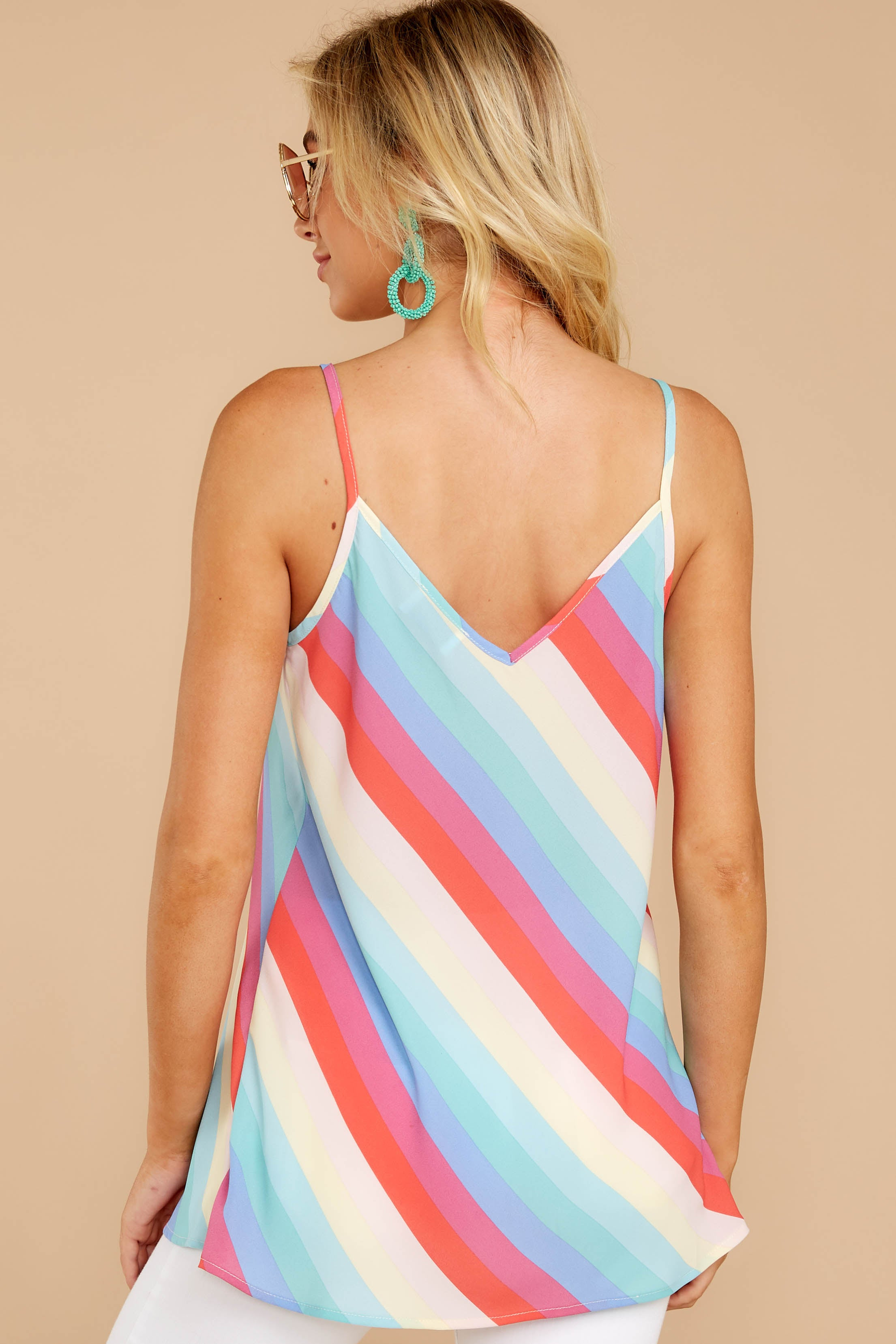 7 Always Ready Pastel Rainbow Stripe Tank at reddressboutique.com