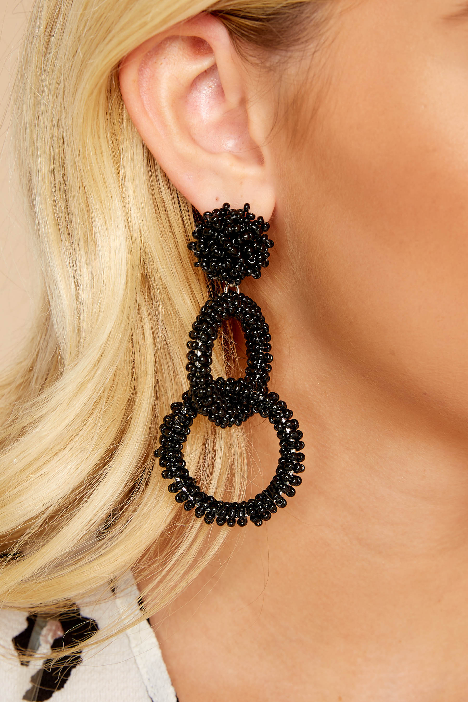 1 Excitement Doubled Black Beaded Earrings at reddressboutique.com