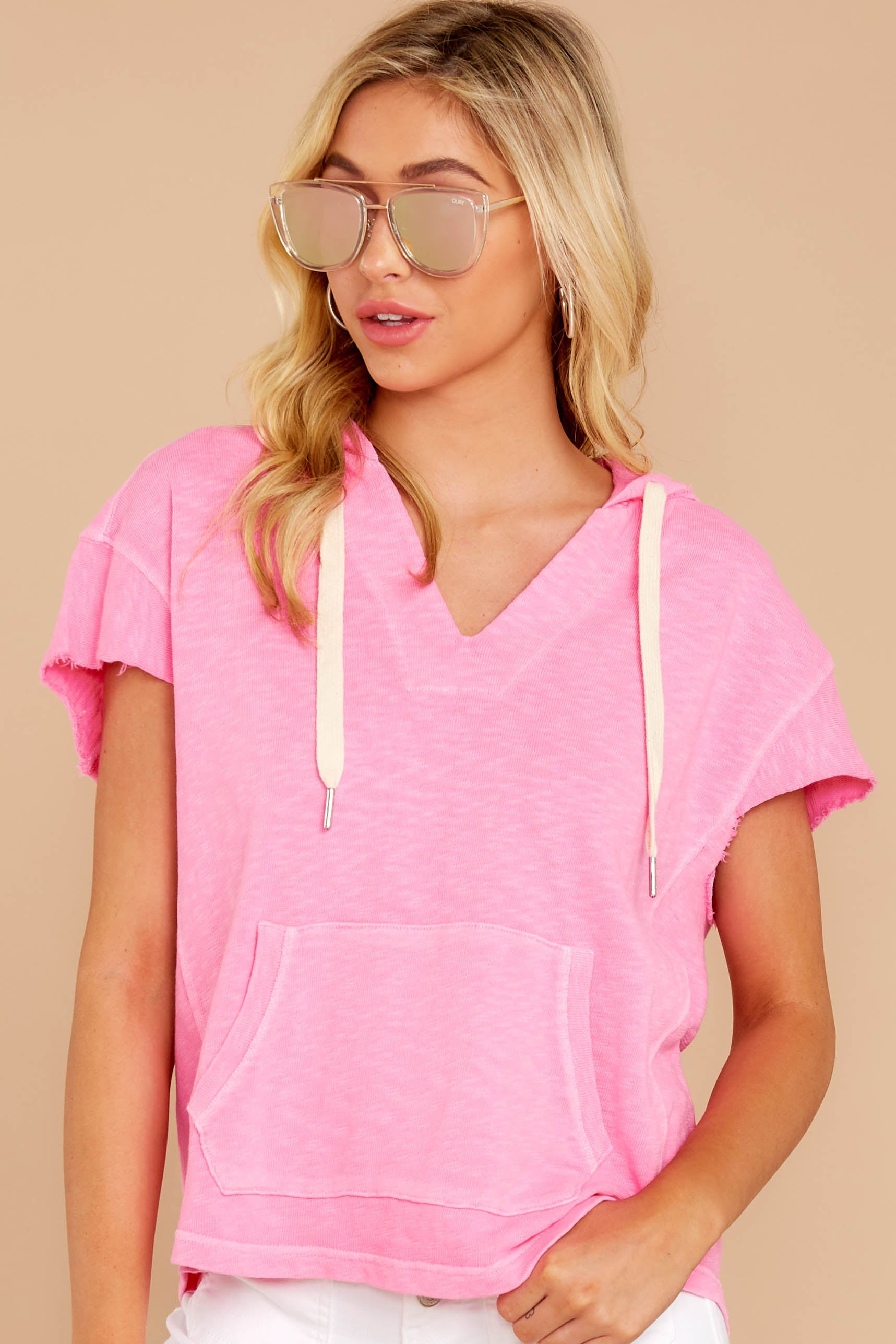 4 Lighthearted Living Bubblegum Pink Hoodie at reddressboutique.com
