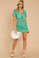 1 Got A Crush Kelly Green Floral Print Dress at reddress.com