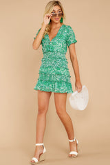 2 Got A Crush Kelly Green Floral Print Dress at reddress.com