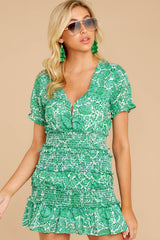 4 Got A Crush Kelly Green Floral Print Dress at reddress.com