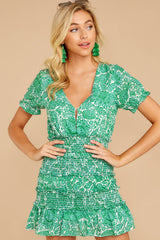 5 Got A Crush Kelly Green Floral Print Dress at reddress.com