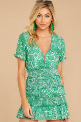 6 Got A Crush Kelly Green Floral Print Dress at reddress.com