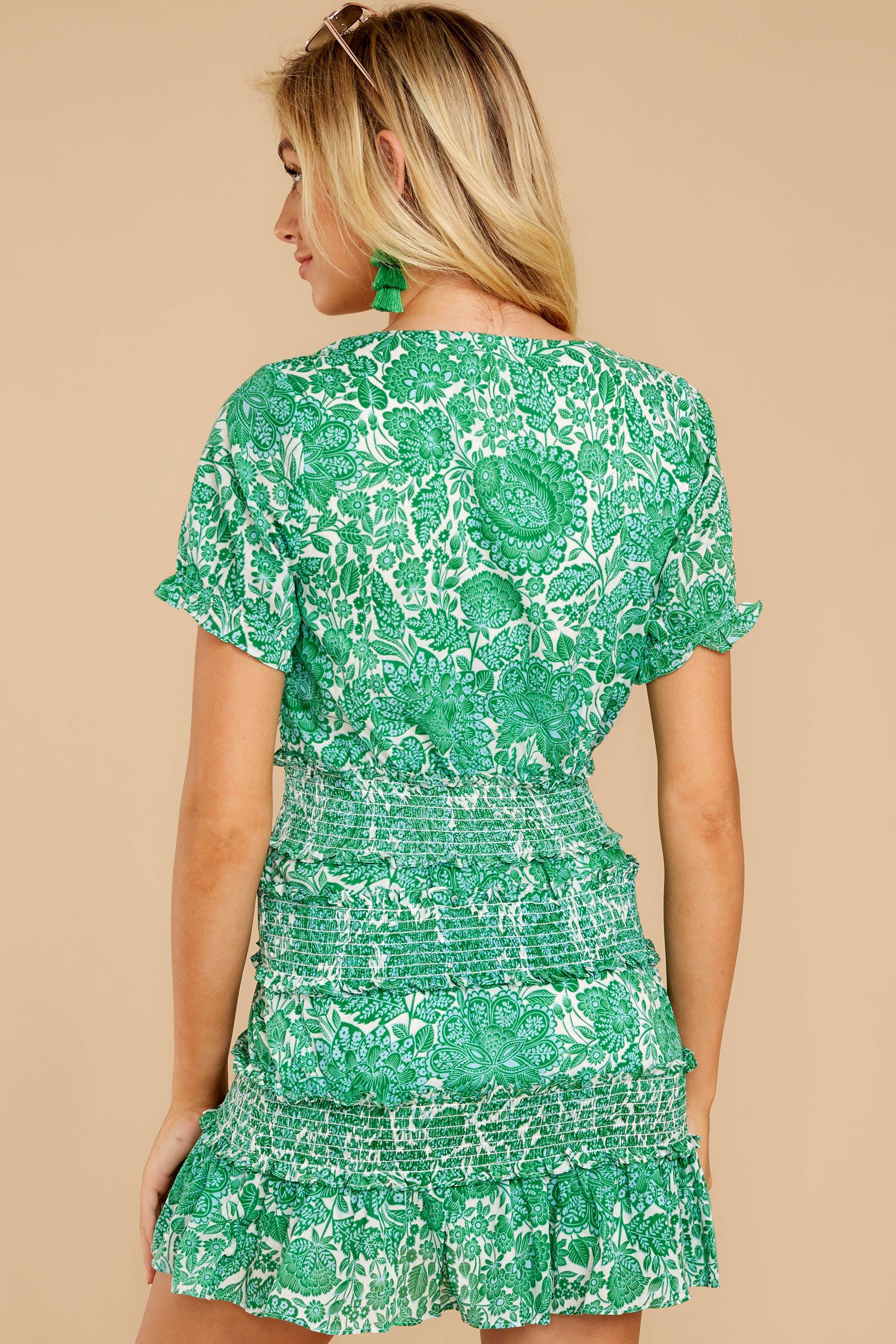 7 Got A Crush Kelly Green Floral Print Dress at reddress.com