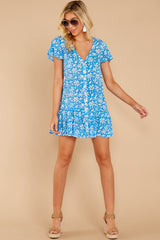 2 Sweeter By The Hour Bright Blue Print Dress at reddressboutique.com