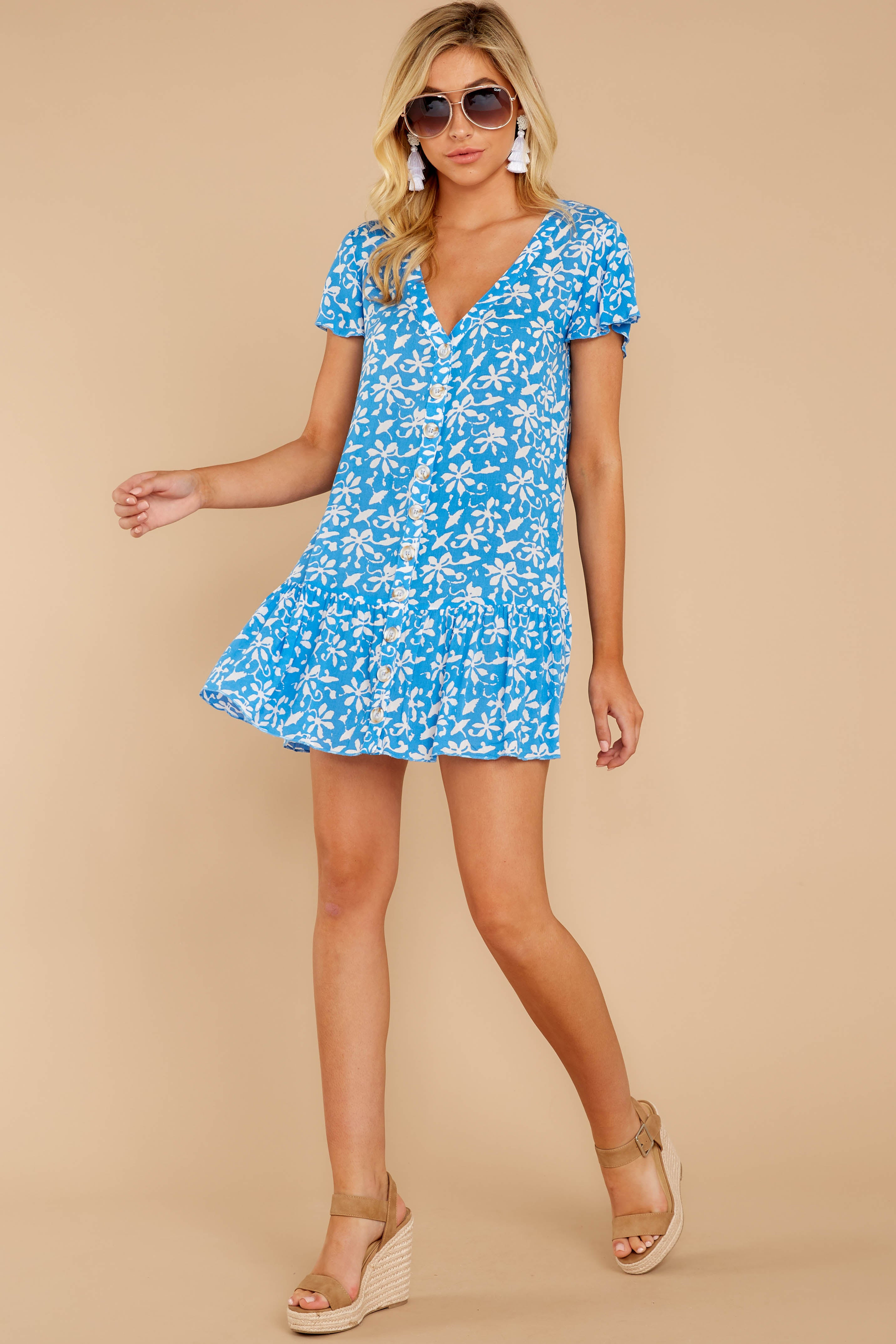 3 Sweeter By The Hour Bright Blue Print Dress at reddress.com