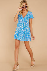 4 Sweeter By The Hour Bright Blue Print Dress at reddressboutique.com
