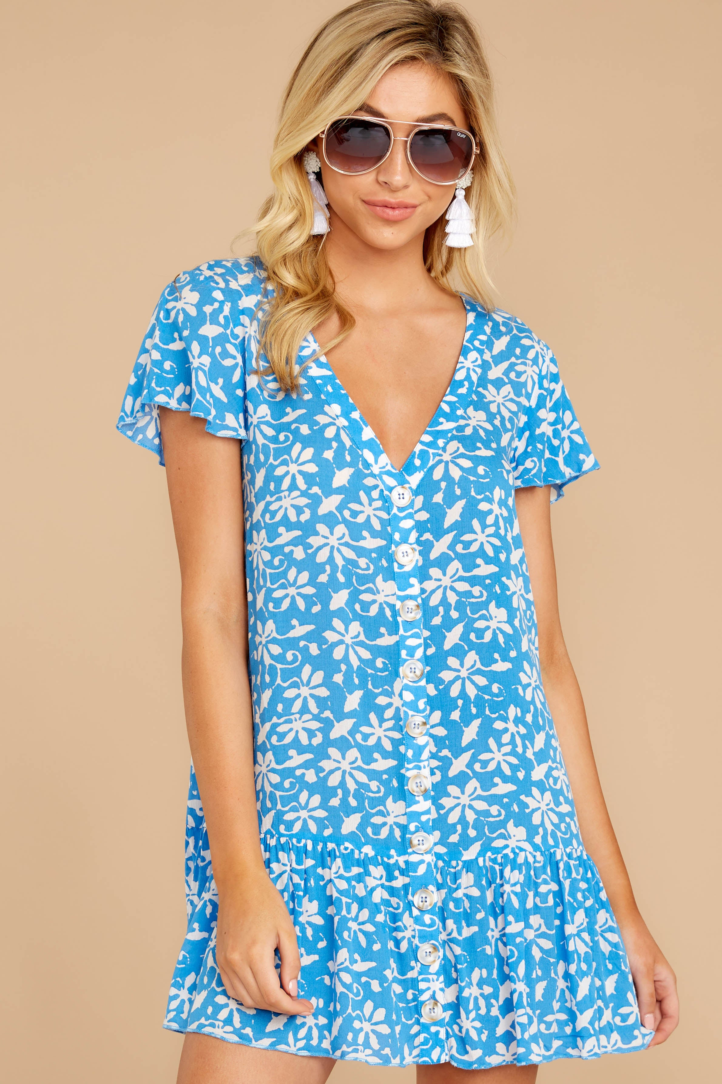 5 Sweeter By The Hour Bright Blue Print Dress at reddressboutique.com