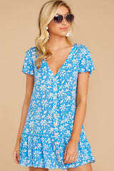 6 Sweeter By The Hour Bright Blue Print Dress at reddress.com