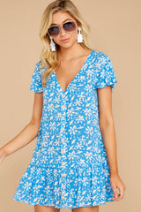 1 Sweeter By The Hour Bright Blue Print Dress at reddressboutique.com