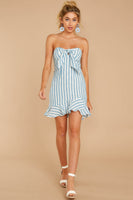 Strapless Striped Print Hidden Back Zipper Darts Princess Seams Waistline Sweetheart Rayon Beach Dress With Ruffles