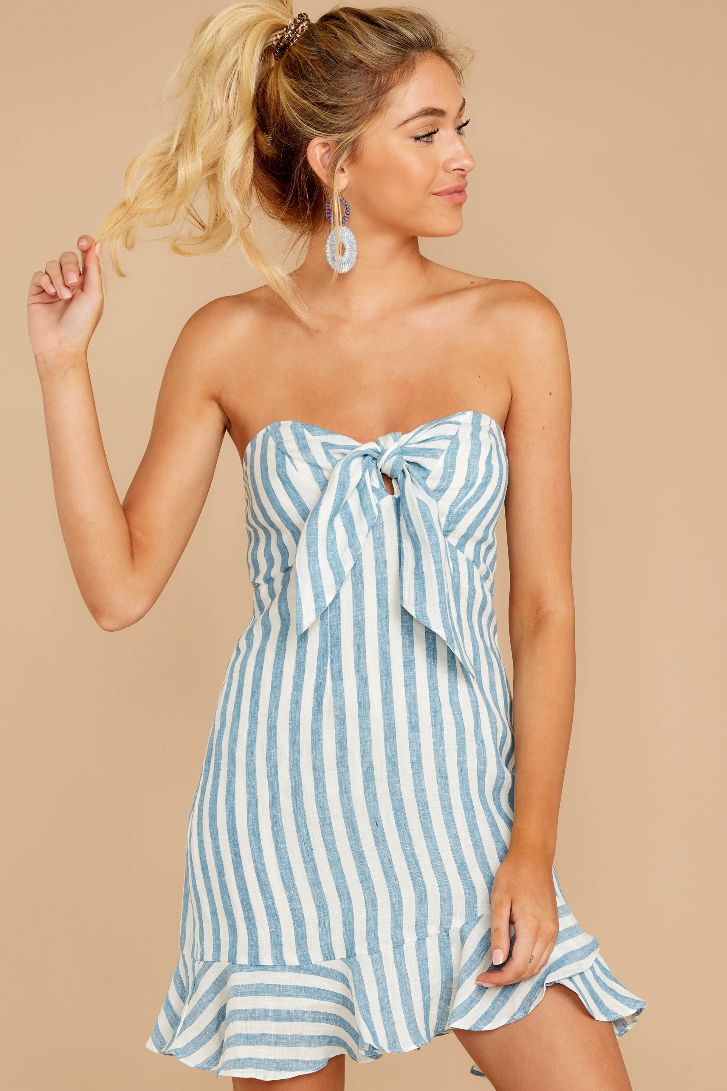 1 Ahoy There Light Blue Stripe Dress at reddress.com