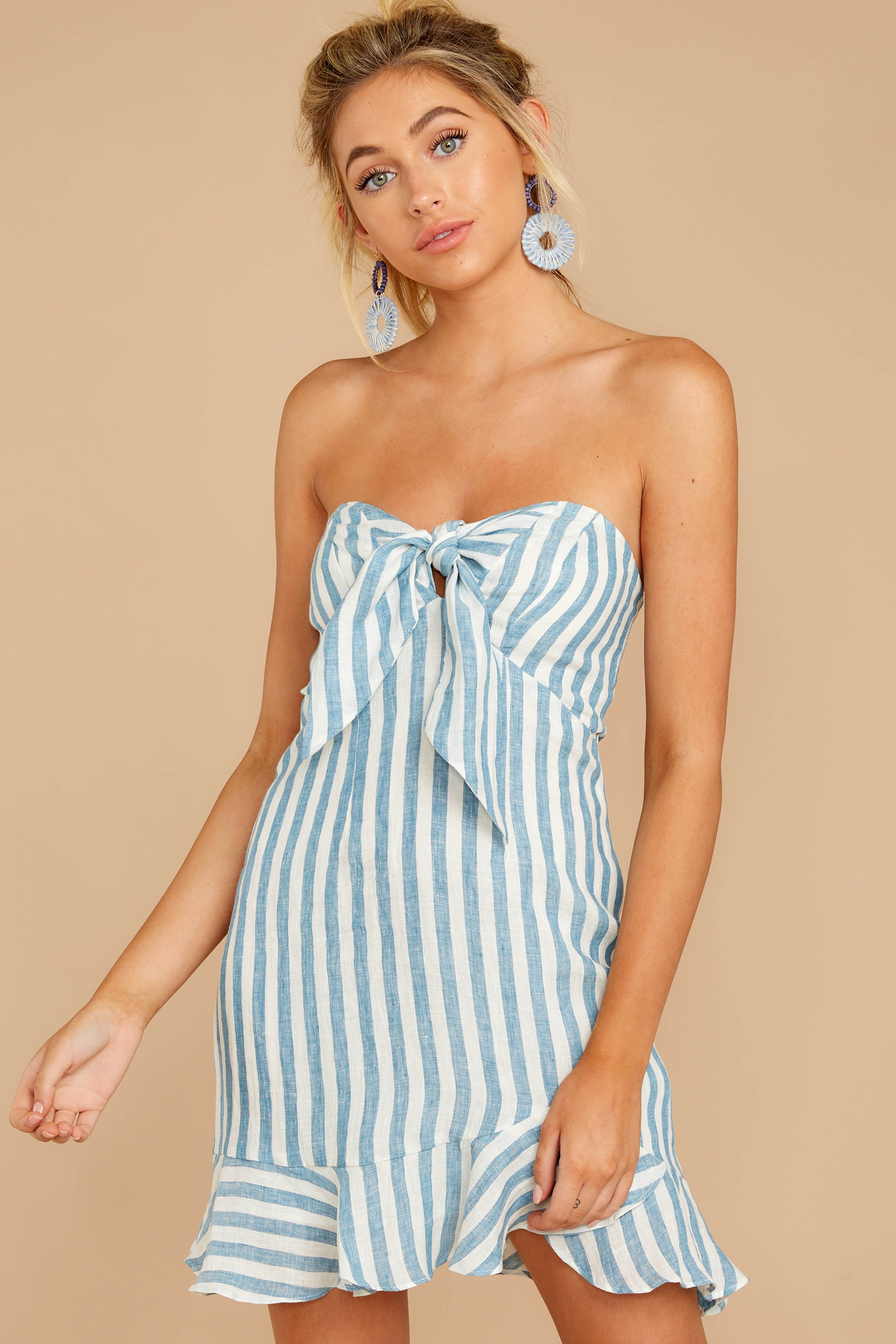 6 Ahoy There Light Blue Stripe Dress at reddress.com