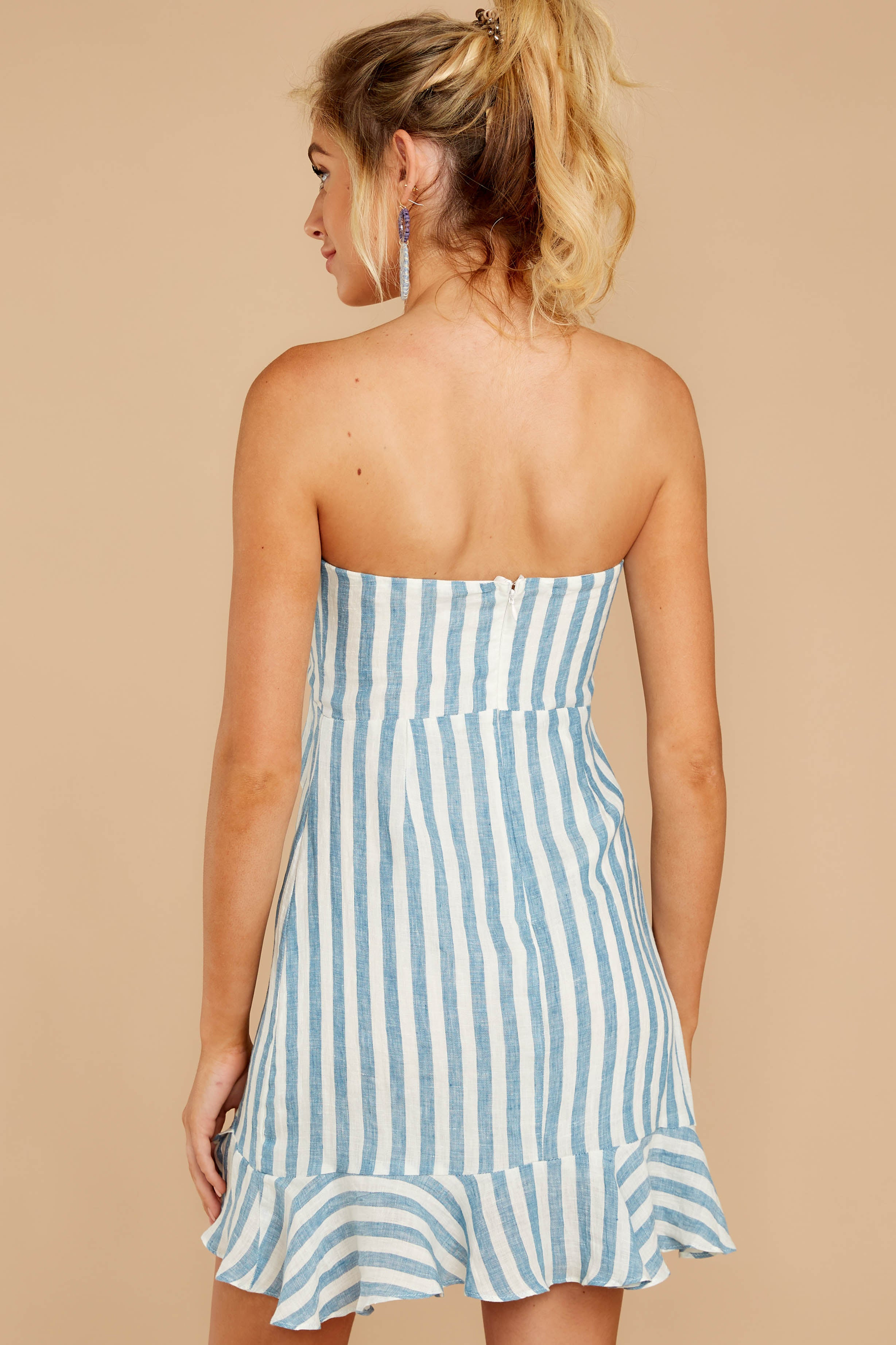 7 Ahoy There Light Blue Stripe Dress at reddress.com