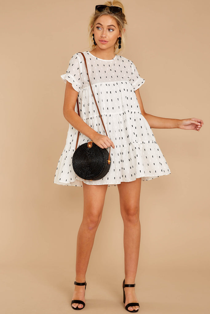 1 For The Twirl Of It White Print Dress at reddressboutique.com