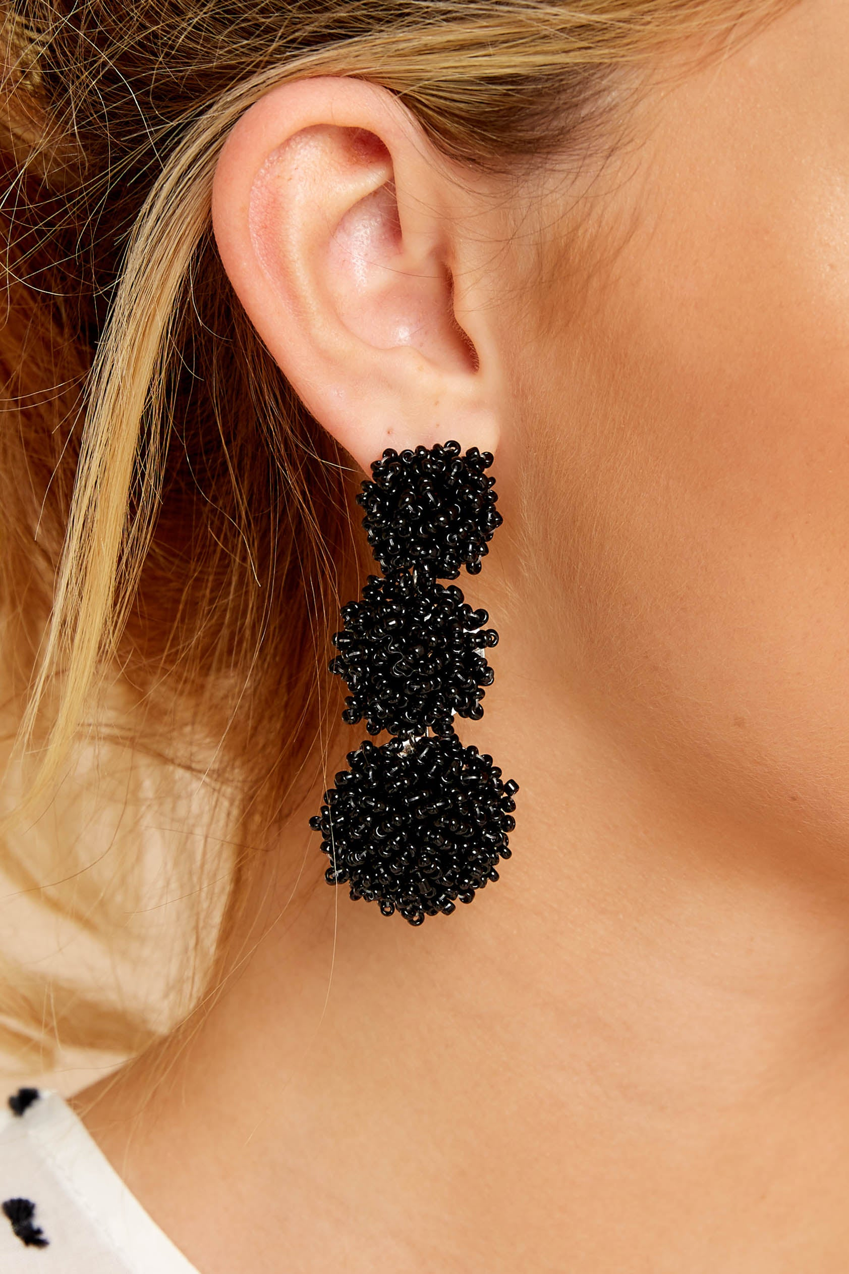 1 Party Of Three Black Beaded Earrings at reddressboutique.com