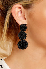 1 Party Of Three Black Beaded Earrings at reddress.com