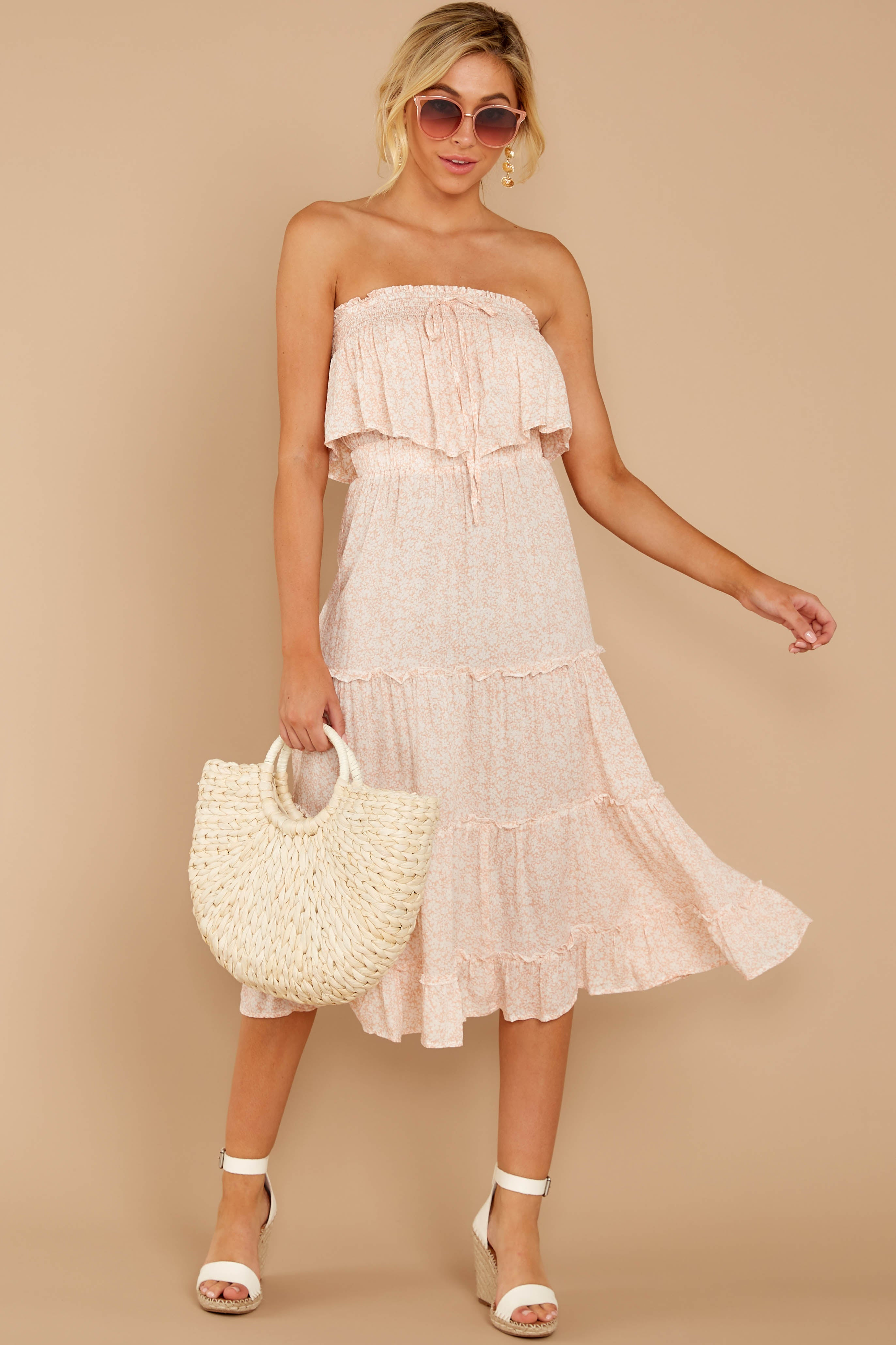 7 Wherever The Day Leads Blush Pink Floral Print Midi Dress at reddressboutique.com