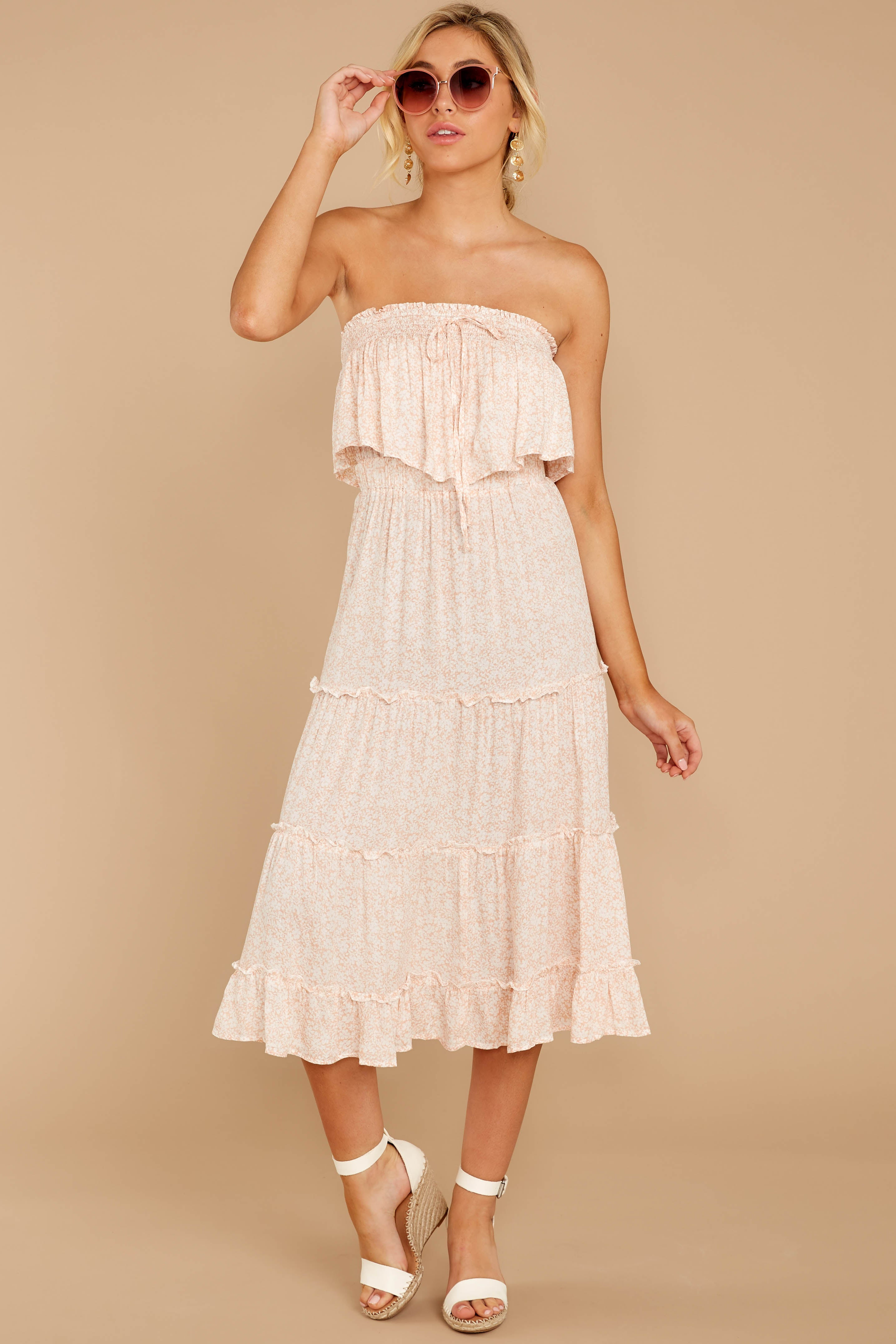 3 Wherever The Day Leads Blush Pink Floral Print Midi Dress at reddressboutique.com