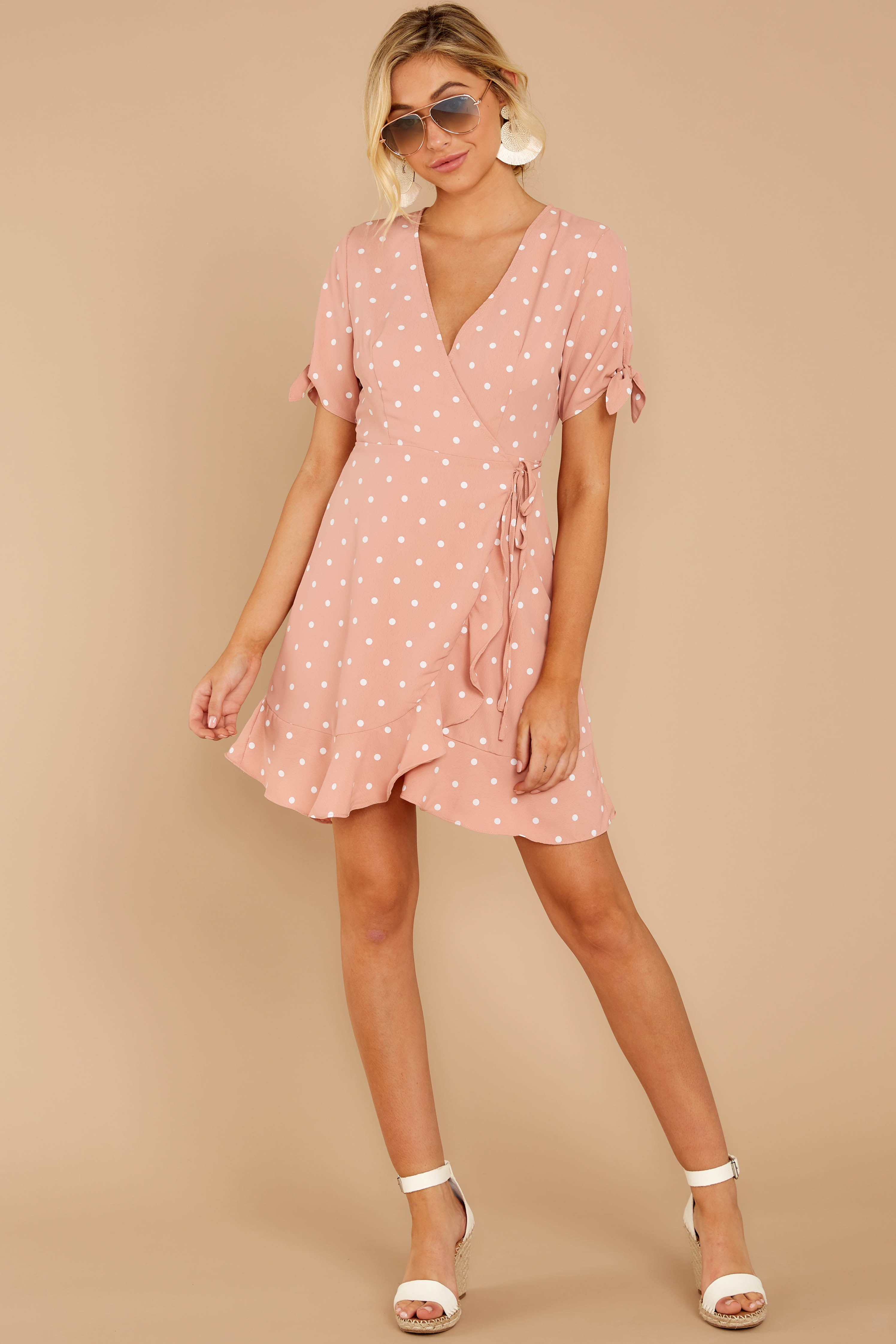 2 Touch Of Luck Blush Pink Polka Dot Wrap Dress at reddressboutique.com
