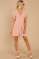 3 Touch Of Luck Blush Pink Polka Dot Wrap Dress at reddressboutique.com